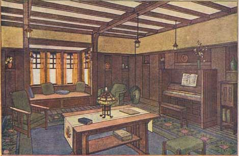 The Dark Wood Paneled Environment Was A Hallmark Of Later Arts And Crafts Or Craftsman Style Home